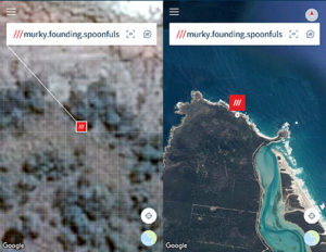 These two images on What 3 Words of the terrain where the hiker fell.