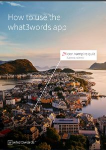 First page of What3Words 13-page instruction manual