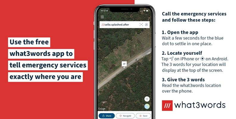 HEMA Maps show how to use What3Words app in an emergency or when standed in an isolated part of Australia